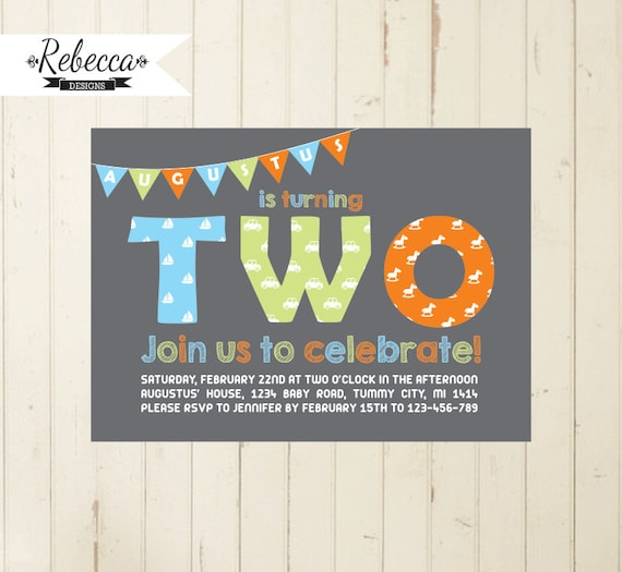 2nd Birthday Boy Invitation Second Invite Number Two Orange Green Blue Bunting Flags Printable
