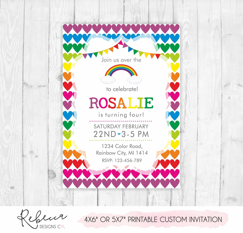 Rainbow Invitation Printable Party Girl