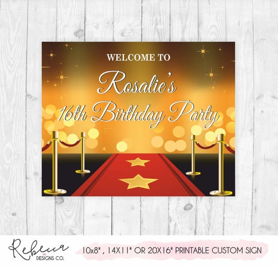 red carpet sign movie night birthday party signs printable red etsy