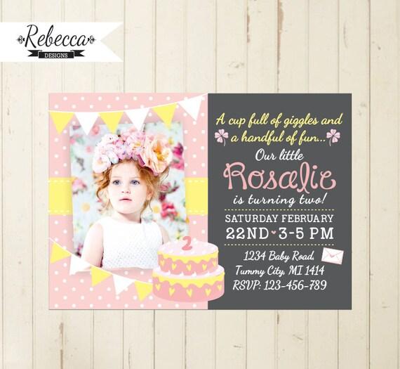 Girl Birthday Invitation First Baby Girl Pink Birthday