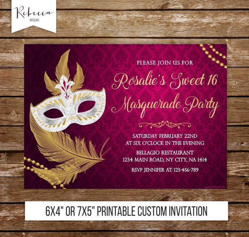 Sweet 16 Masquerade Invitation Mardi Gras Party Invite Sixteen Printable Pink 241