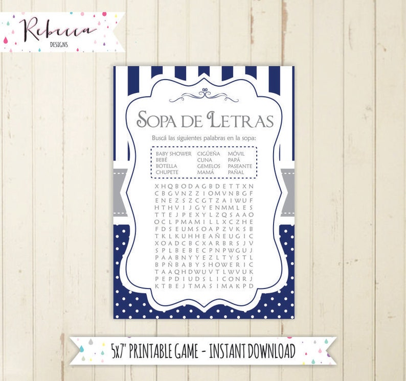 Wordsearch Game In Spanish Baby Shower In Spanish Espanol Etsy