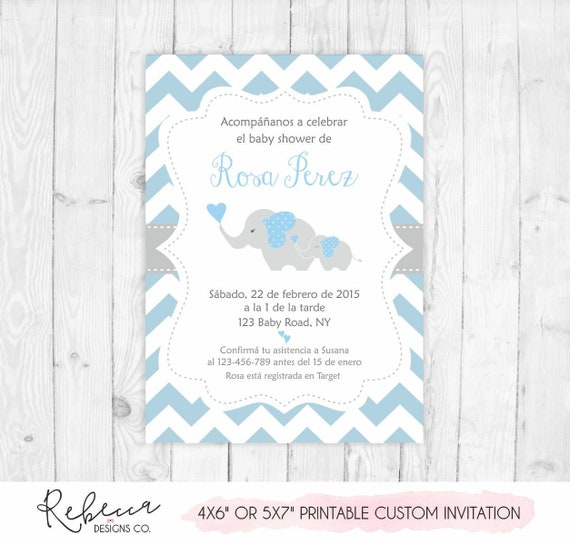Invitacion Baby Shower Espanol Boy Baby Shower In Spanish Invite Elephant Imprimible En Español Invitation Baby Shower Nino Azul 175