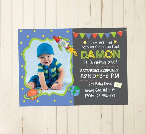 First Birthday Party Invitation Boy Chalkboard: Space Invitation Boy First Birthday Boy First Year