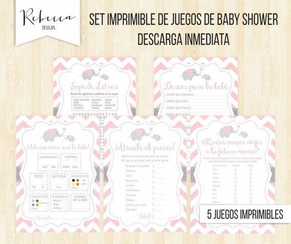 Juegos Baby Shower En Espanol Elefante Baby Shower Nina Juegos Etsy