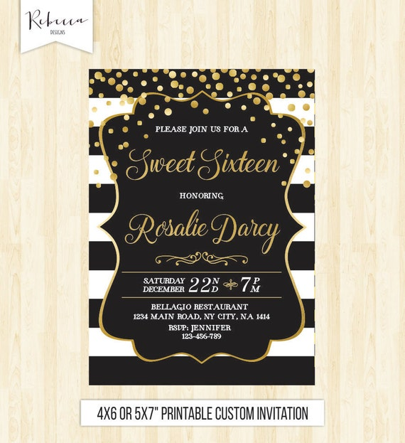 Sweet 16 Invitation 16th Birthday Invite Sixteen Quinceanera Printable Black And White Gold Confetti 231