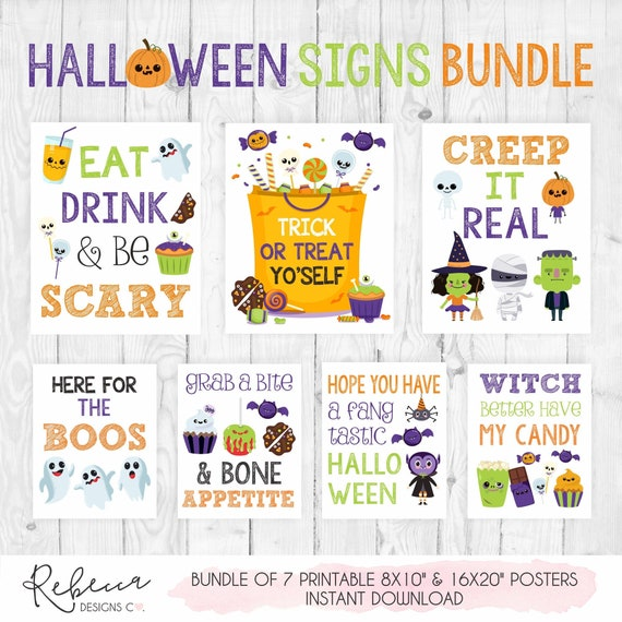 picture regarding Halloween Signs Printable called Halloween symptoms deal printable Halloween celebration indications