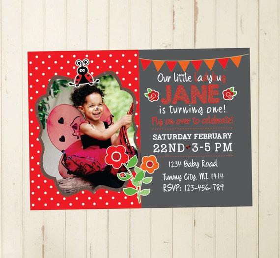 Ladybug Invitation First Birthday Girl 2nd Birthday Girl 3rd Etsy