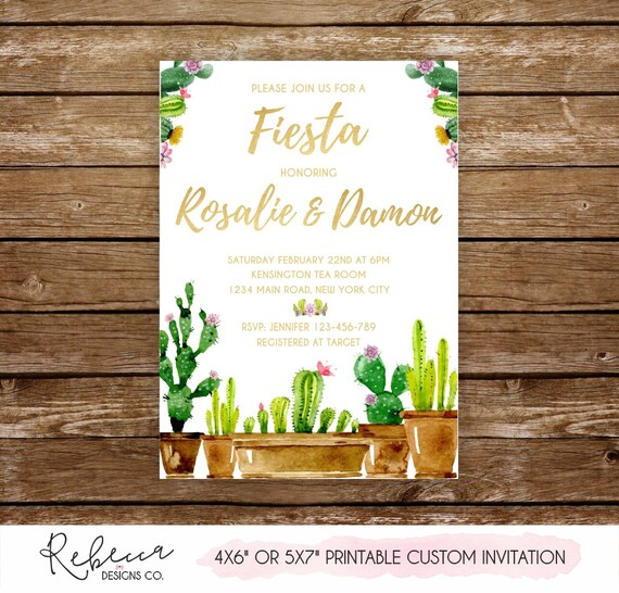 5716cbc97362 Fiesta engagement party fiesta couples shower cactus invitation printable  cactus bridal shower fiesta invitation watercolor invitation 292