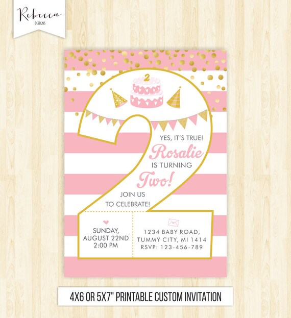 2nd Birthday Girl Invitation Second Invite Number Two Pink And Gold Confetti Printable 212