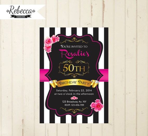 Black White And Pink Woman Birthday Invitation 21st 30th