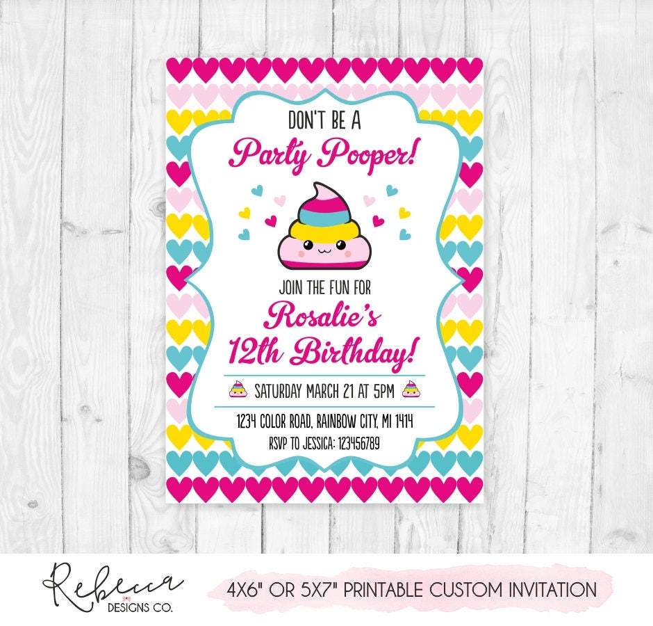 Emoji Party Pooper Invitation Poop Emoji Birthday