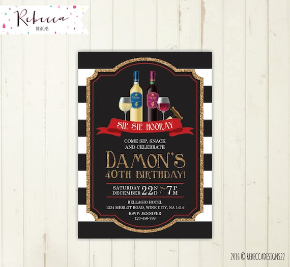 Wine Party Invitation Birthday 50th Black And White Stock The Bar 264