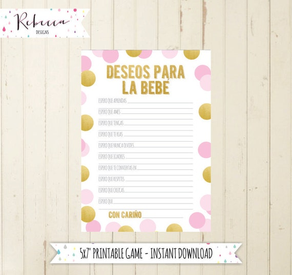 Baby Shower Game In Spanish Wishes For Baby Deseos Para La Bebe
