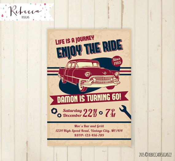 Man Birthday Invitation Car Vintage 21st