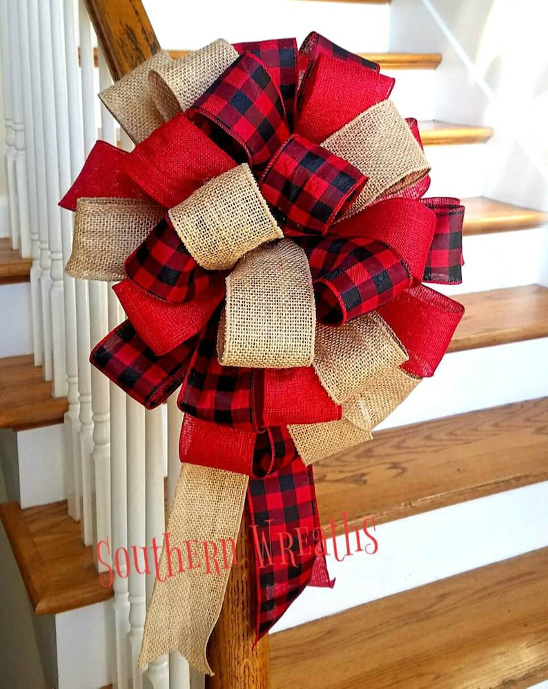 Red and Black Buffalo Plaid Christmas Tree TopperBurlap image 0