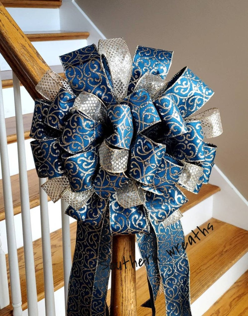 Christmas Tree Bow Gold and Navy Tree Topper Large Holiday Decoration Bow Elegant Christmas Tree Decor Christmas Party Decoration Bow