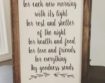 "Reverse canvas sign-""For each new morning..."""