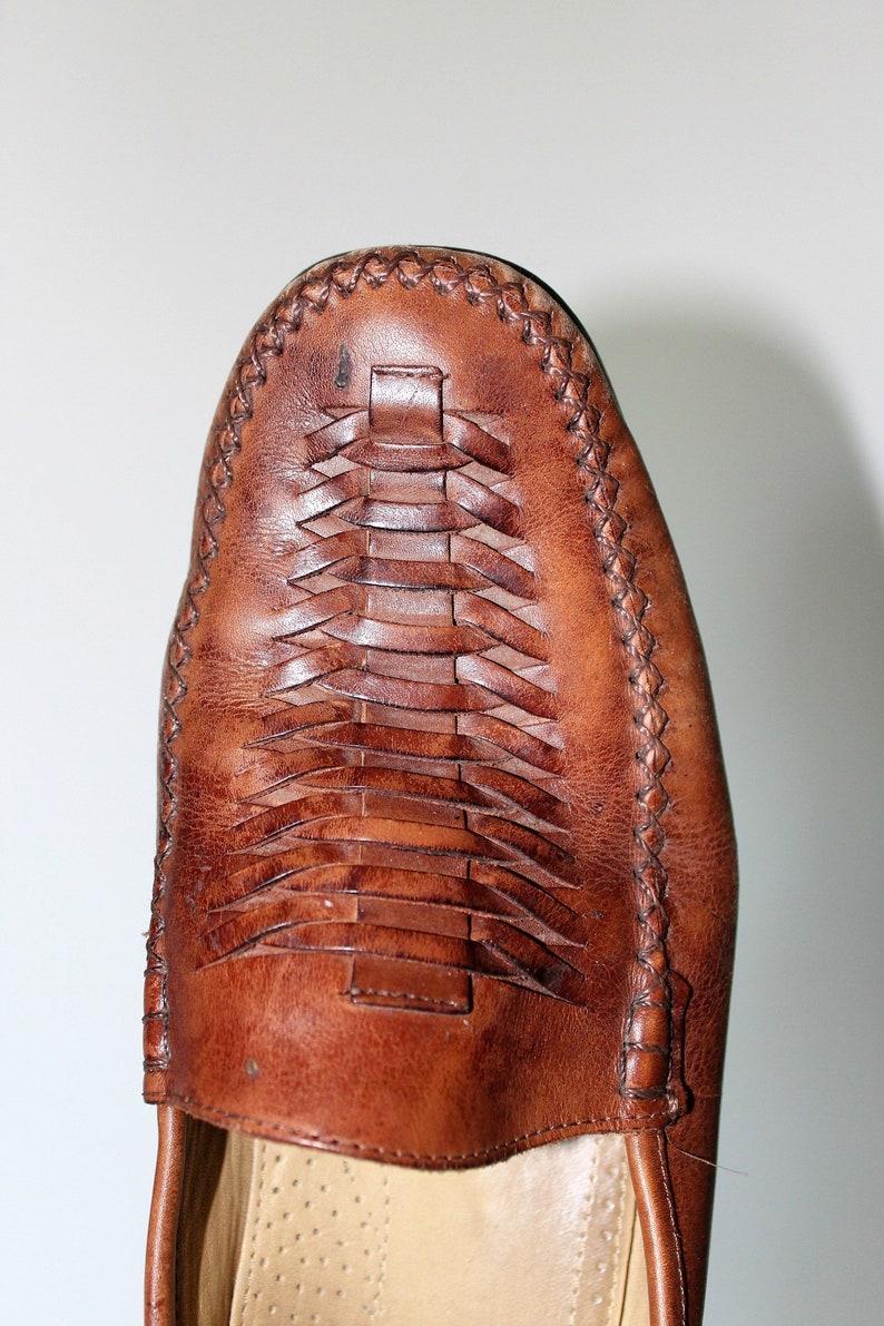 ce7c9de4a5 Vintage FLORSHEIM Shoes Woven Leather Loafers Brazilian Slip