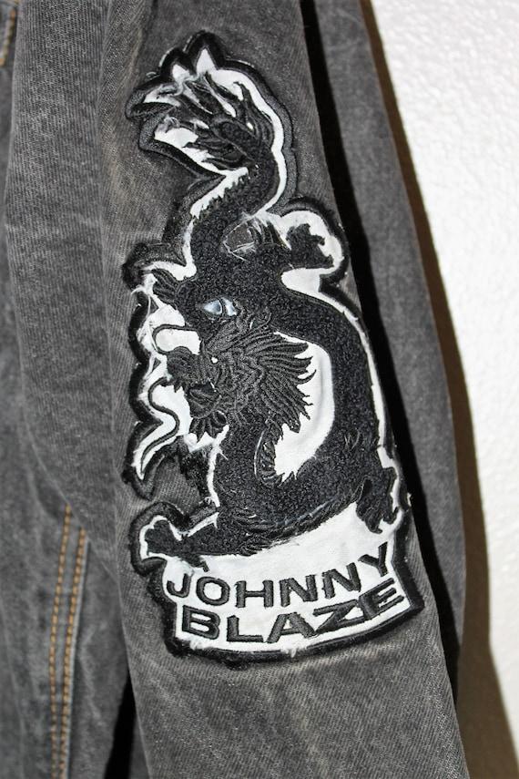 Vintage JOHNNY BLAZE veste * coton ciré eau de Javel en détresse Denim délavé * Dragon brodé Hip Hop Wu Tang manteau XL homme