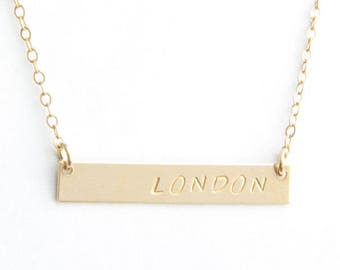 "Classic Name Bar Necklace, 1.25"", Personalized, Gold Filled, Sterling Silver, Rose Gold Filled"