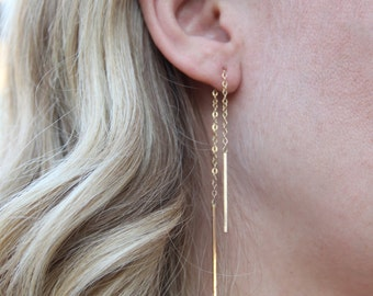 Hanging Chain Earrings, Wire Chain Earrings, Gold Filled or Sterling Silver