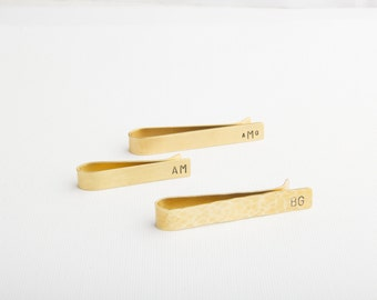 Brass Tie Clip, Skinny, Standard, Hammered, Smooth