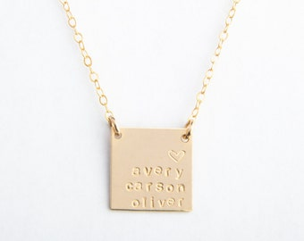 """Large Square Necklace, 5/8"""", Personalized, Handstamped, Name Necklace, Date, Gold Filled or Sterling Silver"""