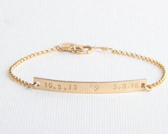 Skinny Bar Bracelet, Personalized, Name Bracelet, Date Gold Filled, Sterling Silver, Rose Gold Filled