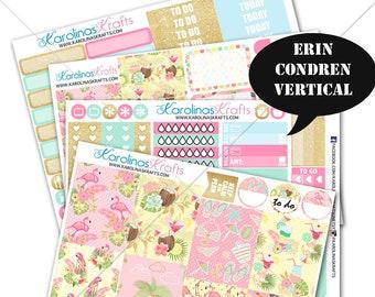 Summer Flamingo Stickers, FloralPlanner Kit 200+ Summer Planner Stickers, for Erin Condren Sticker, Flamingo Stickers #SQ00663-ECV