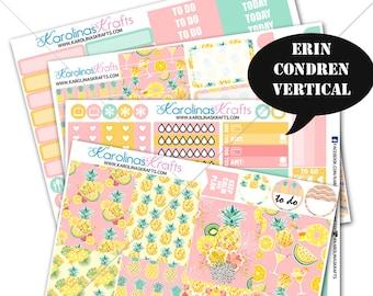Tropical Summer kit, Pineapple Planner Kit 200+ summer Planner Stickers, for Erin Condren Sticker, Pineapple Stickers #SQ00607-ECV