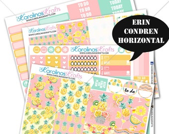 Summer Pineapple KIT Tropical Summer Planner Kit stickers 200+ Planner Stickers, Erin Condren Horizontal Planner Sticker #SQ00607-ECH