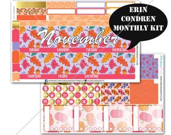 Pink AUTUMN Stickers MONTHLY Planner Kit, for Erin Condren Stickers, Life Planner Sticker, Monthly Sticker Kit, December planner #SQ00630-Ec