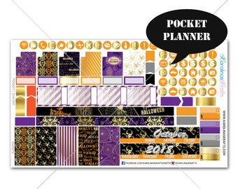 Gold Halloween Planner Stickers MONTHLY Planner Kit, Pocket Planner Stickers, Sew Much Crafting, Monthly Sticker Kit #SQ00576-Pocket