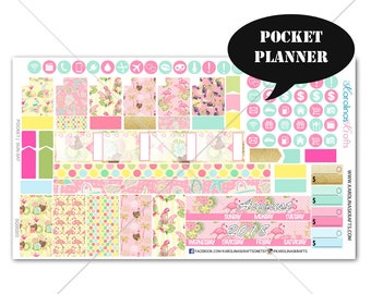 Flamingo MONTHLY Planner Kit / Pocket Planner Stickers / Sew Much Crafting Stickers / Monthly Sticker Kit #SQ00203-Pocket