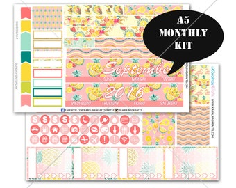 A5 Planner Stickers, Pineapple MONTHLY Planner Kit, Sew Much Crafting Stickers, Monthly Sticker Kit #SQ00286-A5