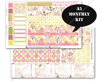 A5 Planner Stickers, Blush Pink Gold Floral MONTHLY Planner Kit, Sew Much Crafting Stickers, Monthly Sticker Kit #SQ00217-A5