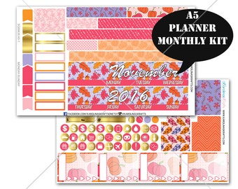 A5 Planner Stickers, Pink Autumn MONTHLY Planner Kit, Sew Much Crafting Stickers, Monthly Sticker Kit #SQ00630-A5