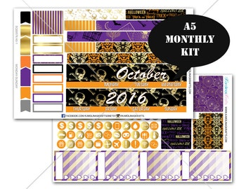 A5 Planner Stickers, Gold Halloween MONTHLY Planner Kit, Sew Much Crafting Stickers, Monthly Sticker Kit #SQ00576-A5