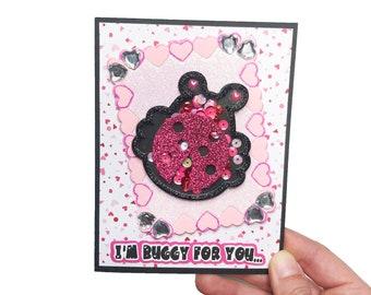 Valentines Day Cards, Handmade Valentine Shaker Card, Vday Card, Valentine Gifts, Valentine Greeting Cards Handmade, Ladybug Puns