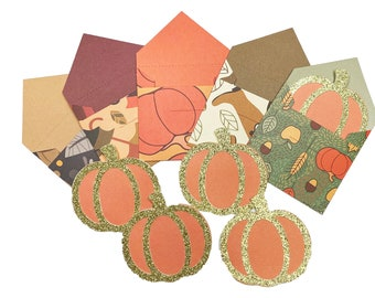 Pumpkin Note Cards in a Set of 5, Pumpkin Notecards with Envelopes, Fall Note Card Set, Fall Notecards, Lunch Box Note Cards