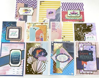 11 Mermaid Cards, Handmade Mermaid Note Cards Set of 11, Blank Greeting Cards, Blank Note Cards with Envelopes, Any Occasion Note Cards