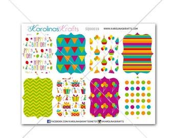 8 Birthday Fancy Shapes! Perfect for your Erin Condren Life Planner, Filofax, Kikkik, Plum Paper & other planner/agenda, scrapbook #SQ00039