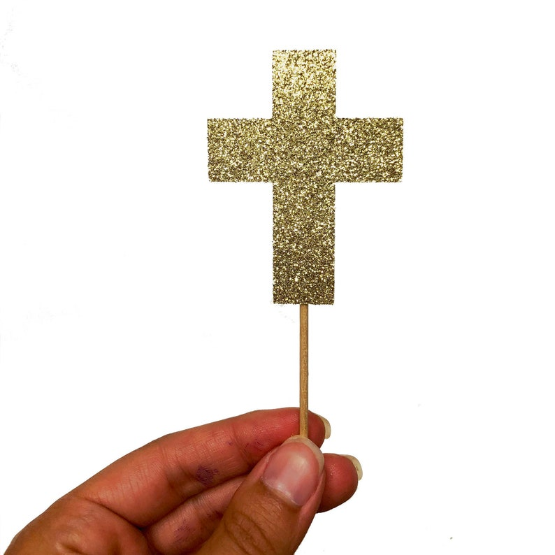 Cross Cupcake Toppers Baptism Party Decoration Confirmation image 0