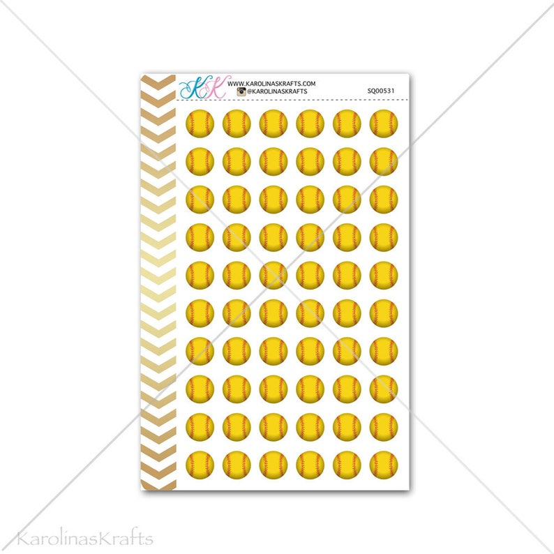 Softball Stickers for planner calendar Functional planner image 0