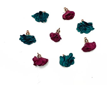 8 Flower Charms, Flower Tassel Charms, Flower Tassels