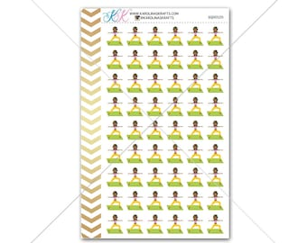 African American Yoga Stickers for planner, calendar! Functional planner sticker workout sticker functional sticker fitness sticker #SQ00520