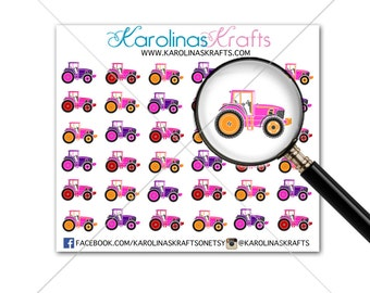 36 Small Girl Tractor Stickers! Perfect for your Erin Condren Life Planner, Filofax, Kikkik, Plum Paper, planner, or scrapbooking! #SQ00033