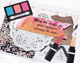 Handmade Makeup Lovers Birthday Card, handmade birthday card, handmade beauty invitation card, Makeup Birthday Card, Beauty Birthday Card