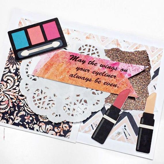 Handmade Makeup Lovers Birthday Card Handmade Birthday Card Handmade Beauty Invitation Card Makeup Birthday Card Beauty Birthday Card